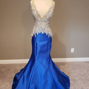 Blue Jovani Pageant Gown- Mermaid style Size 4